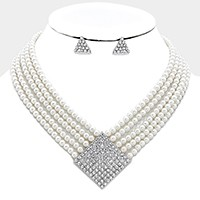 Geometirc crystal detail multi-strand pearl necklace