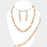 3-PCS Crystal Rhinestone Metal Link Necklace Jewelry Set