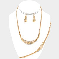 3-PCS Crystal Rhinestone Metal Snake Chain Necklace Jewelry Set