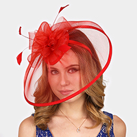 Feather Bow Mesh Net Fascinator / Headband