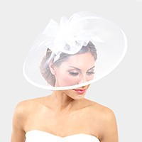 Feather bow mesh net wide fascinator