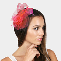 Feather Accented Floral Net Hair Clip Fascinator