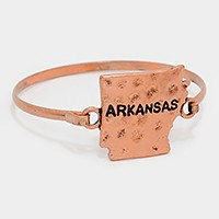 Arkansas state map hammered metal hook bracelet
