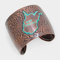 West Virginia State MAP  Hammered Wide Metal Cuff Bracelet