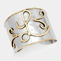 'L' Hand made two tone metal monogram cuff bracelet