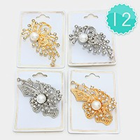 12 PCS - Crystal pearl brooches