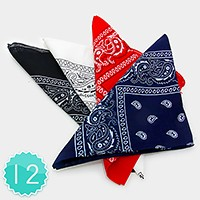 12 PCS - Square cotton bandana scarves
