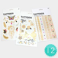 12 Sets - Temporary art tattoos