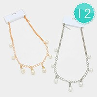 12 PCS - Pearl station necklaces