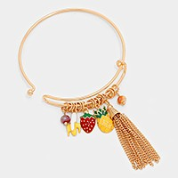 banana & pineapple tropical fruit charm bracelet with tassel