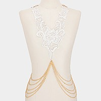 Crochet lace & draped metal body chain necklace