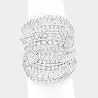 Wide Rhinestone Pave Stretch Ring