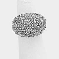 Crystal pave dome stretch ring