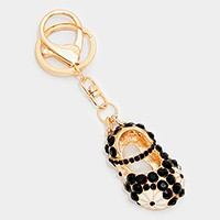 Cute crystal enamel shoe keychain