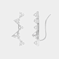 Crystal Cubic Zirconia Triangle Climber Earrings