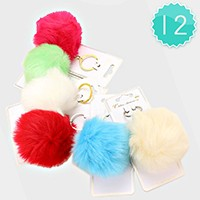 12 PCS - Pom pom faux rabbit fur key chains