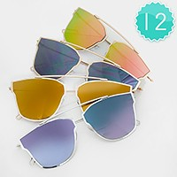 12 Pairs - Unique frame mirror sunglasses