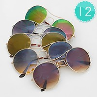 12 Pairs - Rouned metal frame sunglasses