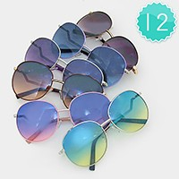12 Pairs - Metal frame ombre sunglasses