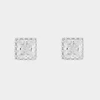 Square crystal cubic zirconia CZ stud earrings