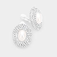 Crystal trim pearl clip on evening earrings