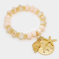 Metal starfish & sand dollar charm beaded stretch bracelet