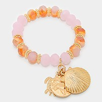 Metal turtle & shell charm beaded stretch bracelet
