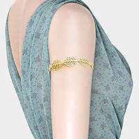 Metal leaf arm cuff bracelet