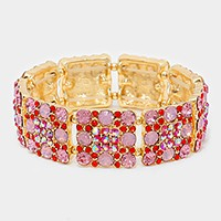 Square pattern crystal rhinestone stretch evening bracelet