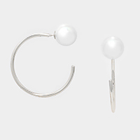 Double sided pearl hoop earrings