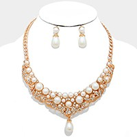 Pearl pendant crystal bubble collar necklace