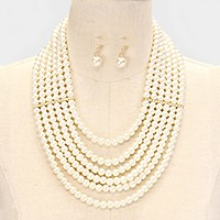 6-row crystal bar accented pearl necklace
