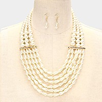 6-row crystal bar accented drop shaped pearl necklace