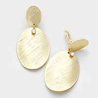 Crystal detail textured metal disc clip on earrings