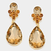 Crystal rhinestone teardrop evening earrings