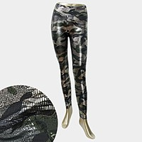 Metallic snake skin camouflage military print wet look leggings