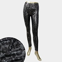 Leopard pattern metallic print wet look leggings