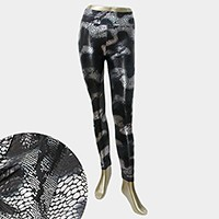 Metallic snakeskin texture wet look leggings