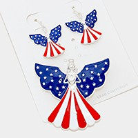 American flag angel pendant set