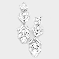 Glass crystal petal statement evening earrings