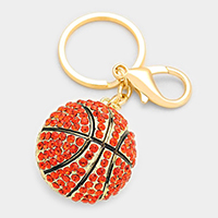 Crystal Pave Basketball Ball Keychain