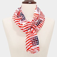 American flag silk feel scarf
