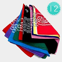 12 PCS - Square bandana scarves