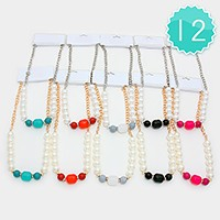 12 PCS - Pearl & resin necklaces