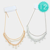 12 PCS - Triple layer pearl necklaces