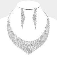 Curved crystal rhinestone collar necklace