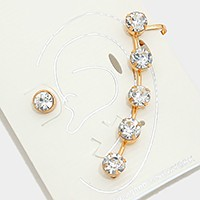 Crystal rhinestone ear clip cuff earrings with studs