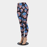 American flag day of the dead skull pattern leggings