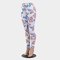 American flag elephant pattern leggings