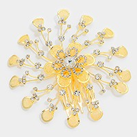 Crystal rhinestone metal flower hair comb stick
